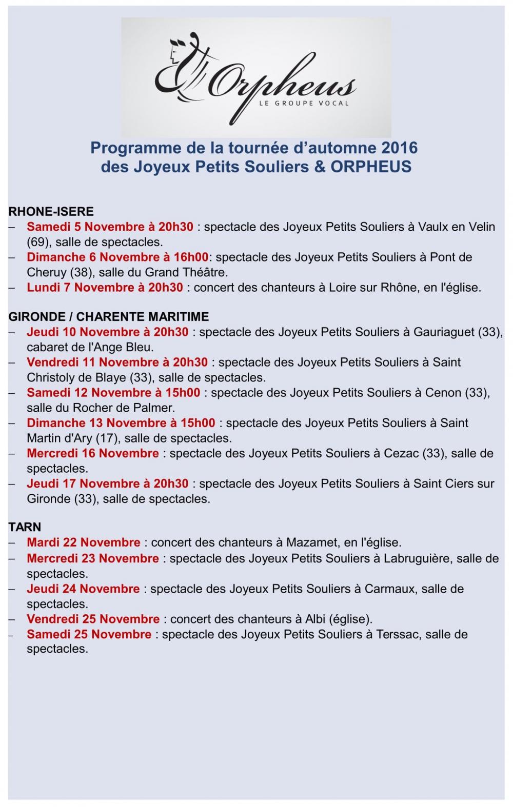 France tour - novembre 2016